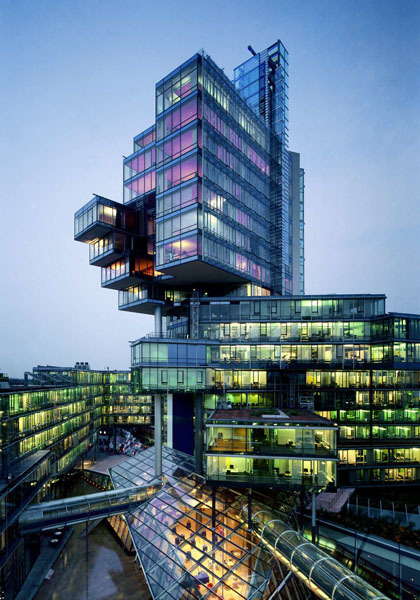 enochliew:  Norddeutsche Landesbank by Behnisch Architekten The building serves as an important linking element between the various activities which define the neighbouring quarters of the city: retail, commercial, residential, cultural, sport and leisure.  Can you have a place!Headcanon? Because this is kind of how I picture the City from the Protomen's songs, esp. in the latter part of Act II.