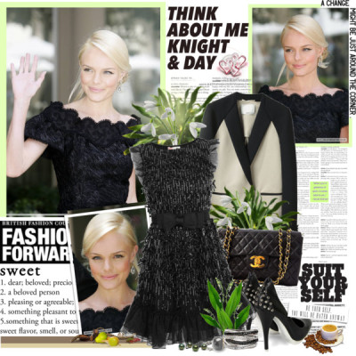 Kate Bosworth - 17.1.2012 by thecolie featuring white gold diamond ringsRED Valentino zipper dress£395 - flannelsfashion.com3 1 Phillip Lim tuxedo jacket$850 - lagarconne.comMcQ by Alexander McQueen platform high heels$420 - coggles.comChanel black bagportero.comEffy Collection white gold diamond ring$2,650 - lordandtaylor.comVince Camuto cocktail ring$48 - vincecamuto.comASOS spike jewelry$14 - asos.com