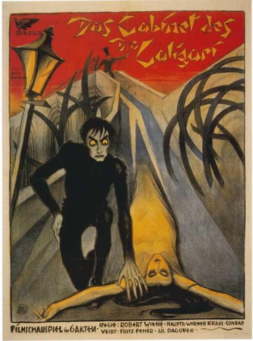 February 26, 1920: The first German Expressionist film and early horror movie, Robert Wiene's The Cabinet of Dr. Caligari, premièred in Berlin. via Lenin Imports
