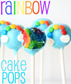 truebluemeandyou:  rainbowsandunicornscrafts:  DIY Rainbow Cake Pops. Not as hard as it looks, and kids could get messy and help with mashing the cake crumbs together. Tutorial and recipe from munchkin munchies here.  I only post or reblog food that I know I can actually do. Really good tutorial and easier than it looks.