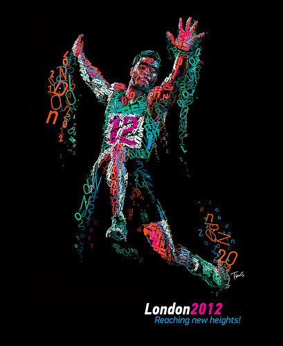"London 2012: Reaching new heights! (by tsevis) A typographic mosaic portraing Cuban athlete Wilfredo Martinez. Inspired by the upcoming olympiad in London.  Typeface used is PF DIN, the richest version ever made of this classic beauty. Typeface design by Panos Vassiliou @ParachuteFonts. Best viewed large.  Attention: Big file. (9000 x 11000 pixels = 30.0"" x 36.7"" @ 300 ppi)Alternately you can zoom in to the high res (98 megapixels) file with Microsoft ZoomIt. Made with custom developed scripts, hacks and lots of love, using my Mac, Synthetik Studio Artist, the Adobe Creative Suite and good music.  Based on a photo by Sportgraphic downloaded from Shutterstock.  Licensed under the Creative Commons Attribution-NonCommercial-NoDerivs 3.0 Unported (CC BY-NC-ND 3.0) scheme. Please read the CC license and don't use this for any commercial project. See more of my Sports illustrations. See more of my Typographic works.  Some details:"