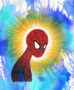 paulcovello:  spidey sense on Flickr. watercolour, pencil, photoshop