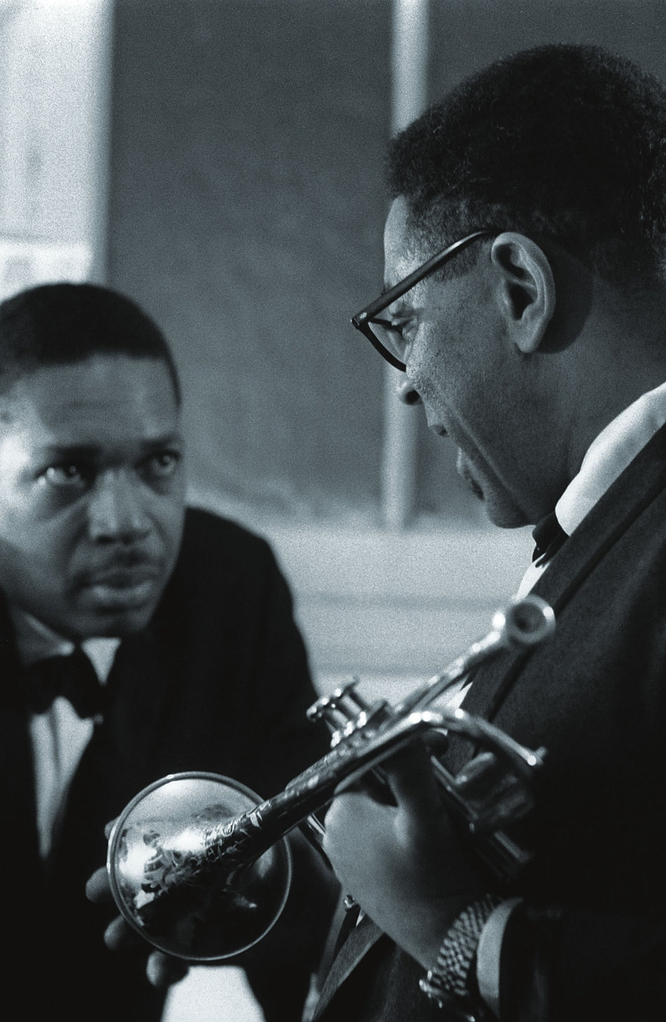 andreno:  tornandfrayed:  John Coltrane with Dizzy Gillespie, The Olympia, Paris 1961. Photo by Jean-Pierre Leloir.  Gods