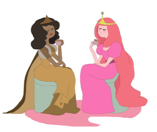Solidarity among Princess Princess Bubblegum and Princess Chocolate enjoy Chocolate's special Chocolate drink They are best friends
