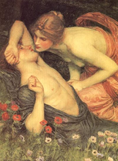 scudiero:  The Awakening of Adonis (detail) - John William Waterhouse
