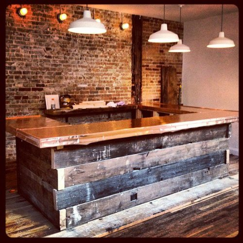 A sneak peek of the rustic/modern bar still in progress at Thirty Acres on Jersey Avenue.