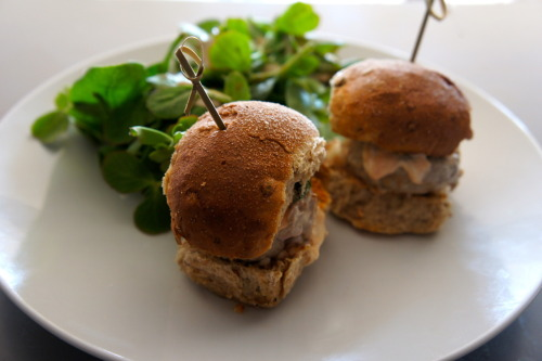 Tuna mini-burgers with a wasabi-yuzu mayonnaise Very finely mince 250g fresh tuna. Place in a small bowl with a drizzle of soy sauce. Mix well and then roll into 6 balls and then flatten into burger shapes. Fry or grill for around 2 minutes on each side. Meanwhile, mix together 3 tbs good-quality mayonnaise with 2 tsp soy sauce, 2 tsp yuzu juice (a Japanese citrus fruit), 2 tsp mirin, 1 tsp wasabi powder and 1 tbs ketchup. Serve the burgers in mini-buns with a dollop of mayonnaise and a side salad of lamb's lettuce with a Japanese sesame dressing. Serves 2.