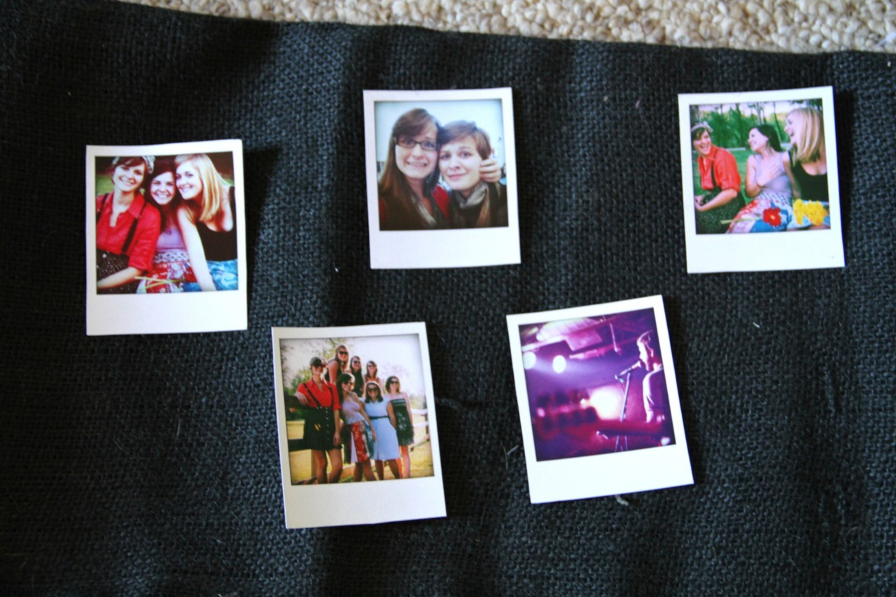 "How to make regular pictures into Printed Instagrams or Polaroids: I wanted to print regular pictures off like my sisters cool little instagrams, but you have to actually use instagrams to use that website. Womp, womp. So I just googled ""Polaroid printing"" or something like that and found Poladroid! It's a free download, and the cutest thing ever! When you open it it opens a little Polaroid camera in the top left corner of your desktop. Then you drap you photo to the camera and it makes the sounds like its taking a Polaroid shot! A Polaroid pops up as just brown and you can move it around on your desktop, then you wait for it to develop! It makes a noise when it's done developing, and you can watch it develop. It's brilliant. You can do 11 at a time then you have to close it and open it again and can do 11 more. I always do 11 back to back and then do something else while they all sit on my desktop and develop at the same time.So, I took these to Photoshop, put 9 of them to one page, uploaded it to my Office Depot Photo Studio page, went to Office Depot and printed 3 sheets on card stock for like $.69 each! That's $.69 for 9 mini Polaroids. I brought them home, cut them out and they are freaking adorable!"