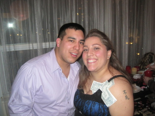My best friend's Red light District party! These are pics of me and the hubby before and after the party!