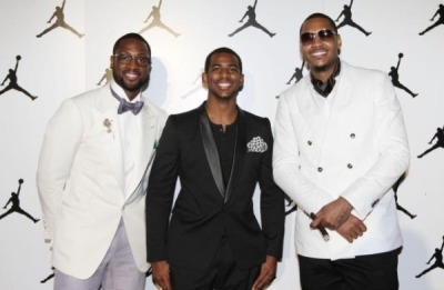 Dwyane Wade, Chris Paul and Carmelo Anthony at the Jordan All-Star Event last night…