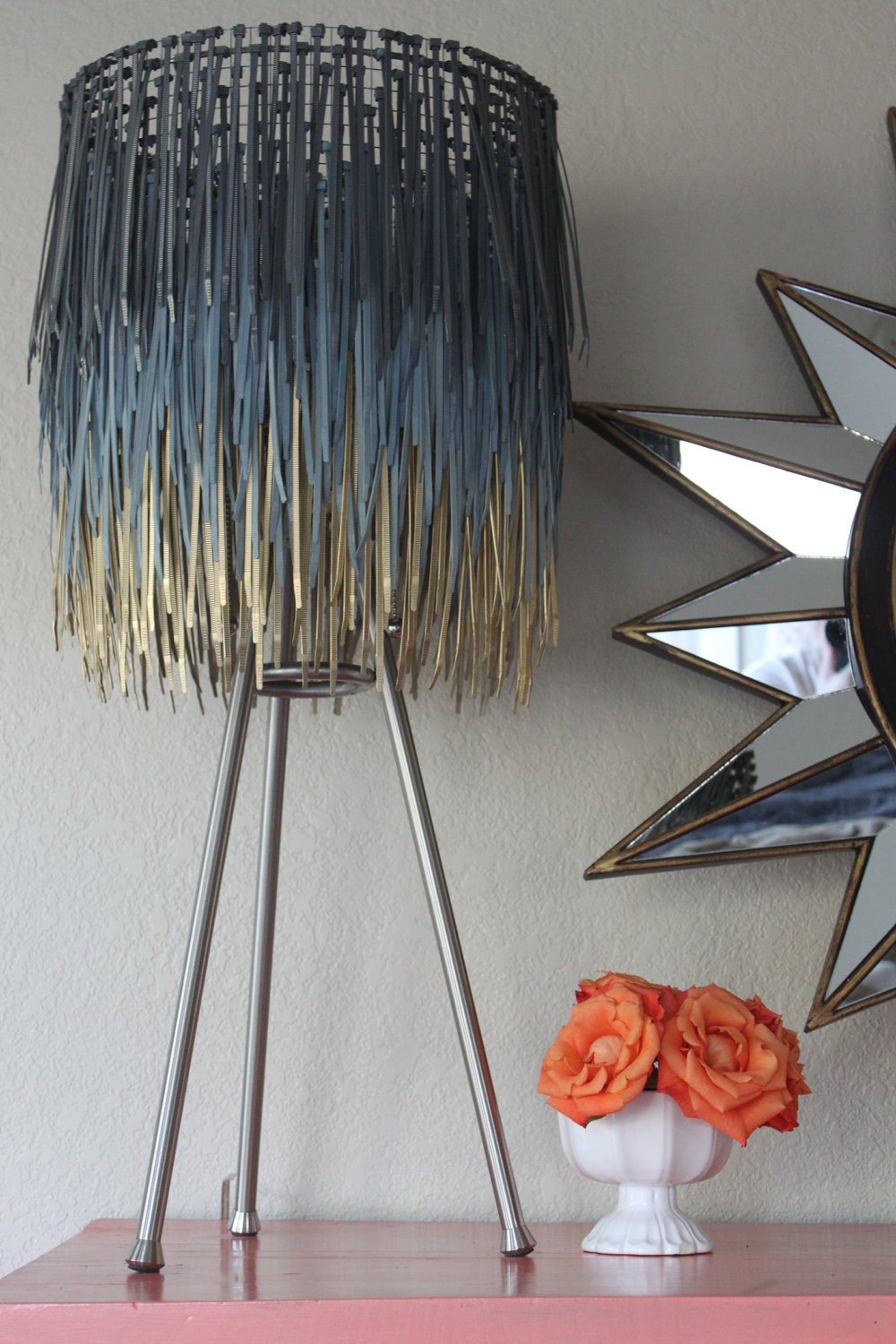 Like it? Learn how to make your very own Zip Tie (YES ZIP TIE!) lamp shade here!