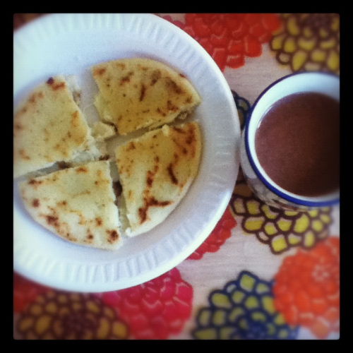 cool-storie-br0:  Arepa with hot chocolate c: