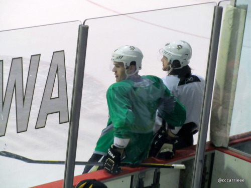 Rev Loveyjoy & Tanger take a breather during practice XOXO (2/23/12 Iceoplex @ Southpointe)