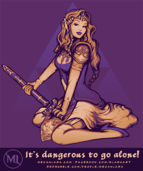 pwnlove:  Wow, just wow. Zelda looks amazing.  It's Dangerous to Go Alone! by Megan Lara
