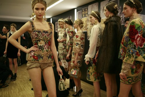 Josephine Skriver backstage at Dolce & Gabbana Fall 2012 in Milan.