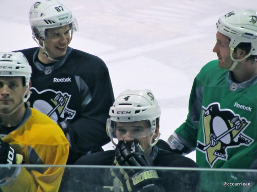 Sid & Orpik share a chuckle during practice. XOXO (2/23/12 Iceoplex at Southpointe)