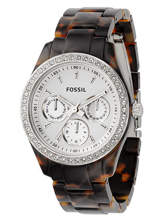 heyyoushouldbuythis:  Isn't Fossil watch from Macy's the best? I just bought it last week & I can't wait for it to arrive in my mailbox. I love the tortoiseshell band & all the sparkles. I really love that it will go well with both black & brown outfits. Hopefully, it's a versatile as I'm imagining. It's $95 at Macy's, but you can find it for about $60 at Amazon.  I want it.