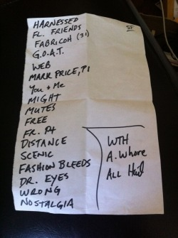 Archers of Loaf setlist from Feb.25, 2012 as part of Noise Pop 20.
