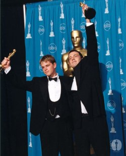 "iloveretro:  Ben Affleck and Matt Damon won for ""Good Will Hunting"" at the 70th Annual Academy Awards"