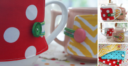 "Button-Up Cup Cozy ""This cute and cheerful cup cozy would make a great gift, or else you  might like to make a few to brighten up your tea set for when guests  visit."""