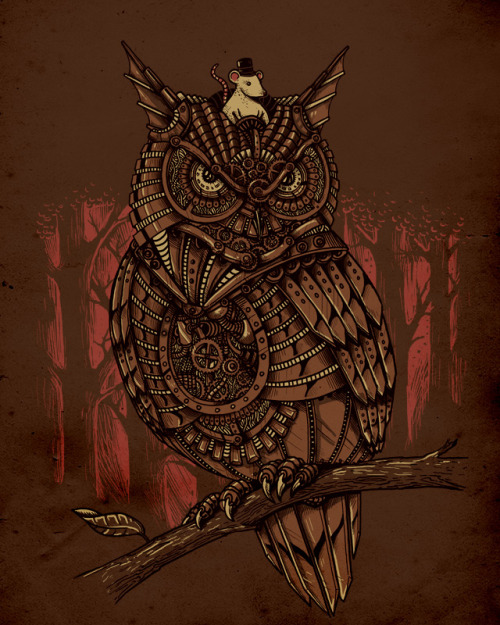 "colorfuleyeballadventure:  ""Mechanic-Owl King"" by alexmdc  Beating the system!"