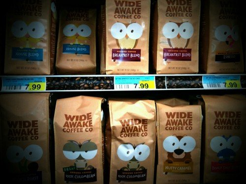 saranae:  I don't usually go down the coffee aisle..but today I did and found the best coffee packaging! Haha. So cute right? Dad called me a nerd as I took this picture. Learn more about this small Midwest coffee company HERE :)