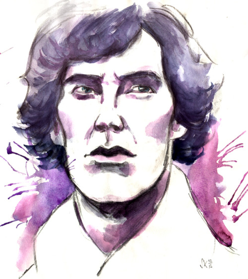 A quick Sherlock sketch. The purple paint got all wild on his face.