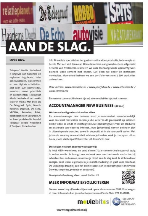 "The first Maddle QR was printed in ""De Telegraaf"", the biggest dutch newspaper, this saturday. We measured a lot of activity this weekend of people scanning the code. This is number one, more to follow in the future! We hope that Moviebites will find themselves a suitable candidate through this Maddle."
