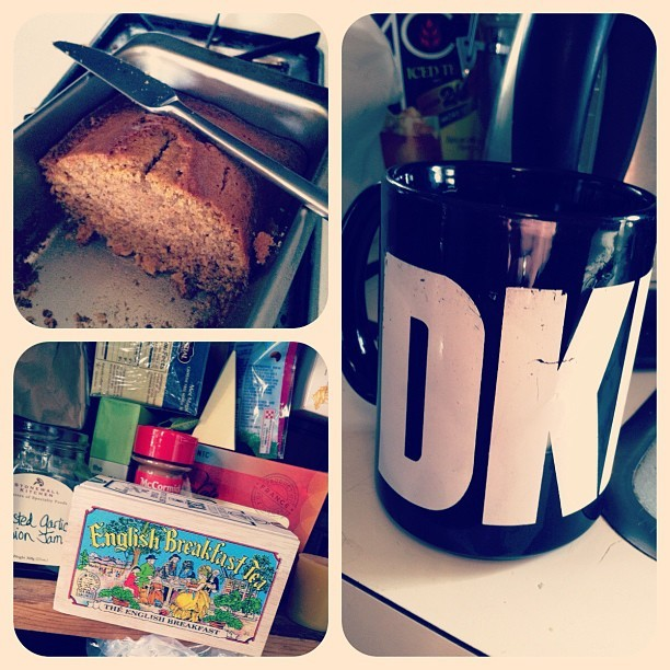 My DKNY mug is over 20 years old. Bought during my fashion maven phase. Pumpkin bread from Trader Joe's and English Breakfast tea from England a gift from Mer. Perfect Sunday afternoon tea time snacks (Taken with Instagram at Robbins Studios)