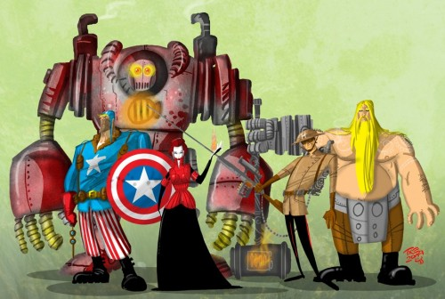 thegoddamnblogman:  Assembling in the Steampunk era. Avengers // Mihajlo Dimitrovski Want more? - Thunder God | Super Soldier More from Artist | More Captain America | More Iron Man | More Thor | More Black Widow | More Hawkeye | More Avengers