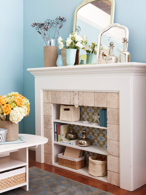 Unexpected Bookcase Turn a nonfunctioning fireplace into a practical and pretty storage space by outfitting it with shelves. Measure the opening and build a plywood insert to fit snugly inside. Cut shelves to fit across. Then paint the pieces and wallpaper the back of the insert. Screw the shelves in place and set the insert in the firebox.(Source.)