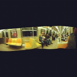 I can take #panoramic pictures now. Look closely… isn't that ill? #train #nyc #photos #city #life  (Taken with instagram)