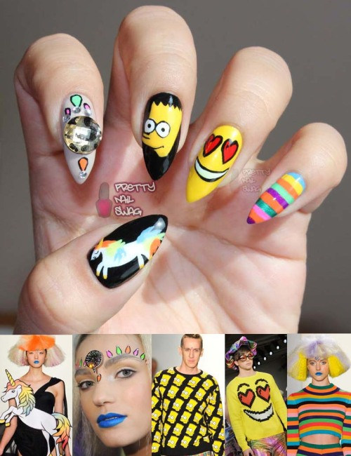 prettynailswag:  My Jeremy Scott NYFW Fall/Winter 2012 inspired nails…you can peep the entire show here.