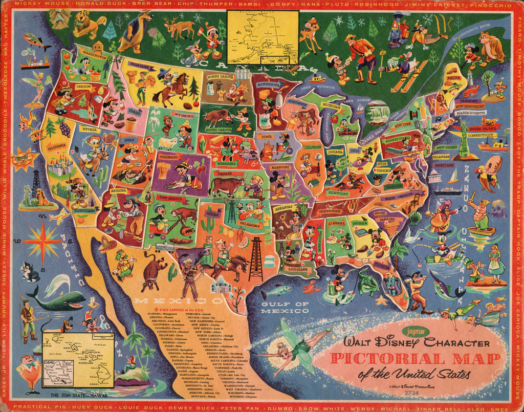 jonahadkins:  1960's Walt Disney Pictorial Map of the U.S.