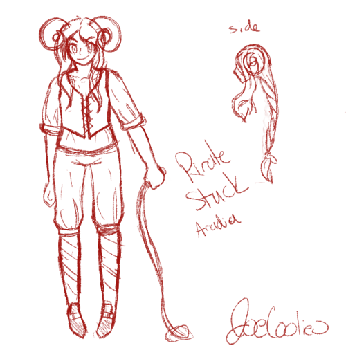 "drew a concept for piratestuck araida c: we lost our old one, and i thought, ""well i did actually want her from the beginning maybe i can just draw her and see what happens"" so yeah uvu (ignore her feet and left arm; I'll fix them IN POST)"