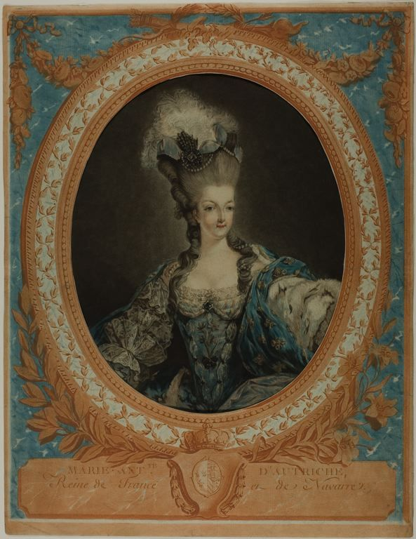 Jean Francois Janinet (1752-1814) Marie Antoinette, 1777 Etching and engraving printed on two sheets as follows: oval portrait in wash manner on full sheet in yellow, blue, red, and black from four plates; decorative frame cut out in center, in blue and orange from two plates