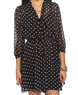 Dress like Rachel Berry: self-tie polka dot dress $19.80 from Forever 21