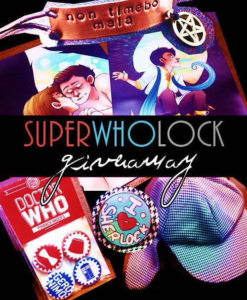 "-wondersmith:  Doing my first little give away here!  SuperWhoLock themed because, well, why not?  Remember, have fun and play nice.  RULES Only one reblog per day.  Likes don't count. You do not have to be following me to win, but if you'd like to keep yourself updated it might be a good idea. Your ask box must be open.  Anyone in the world can enter, I don't mind the shipping. WHAT YOU WILL GET ""Non Timebo Mala"" bracelet from Coppery Quotes. Two high quality photo prints (5x7) of both [x] and [x]. A pack of four Doctor Who badges by the lovely Olivia [x]. ""I <3 Sherlock Holmes"" button by the amazing Elle [x]. Sherlock Holmes classic destective hat, you can see me wearing mine here, but don't worry - the one I'm giving away has never been worn. Give away ends on Friday, March 2nd and the winner will be picked randomly by an online program.  Good luck!"
