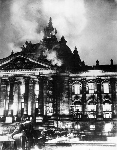 This day in history (February 27, 1933): The German Reichstag building is destroyed by a fire. This event was a major turning point in German history as it was used by the Nazi Party as a pretext for state repression.  The Nazis blamed Dutch communist Marinus van der Lubbe for starting the fire. Nazi leader and Chancellor, Adolf Hitler, used the fire as evidence that the Communists were beginning a plot against the German government. As a result, all civil liberties were suspended and members of the Communist Party were arrested. With them gone, the Nazis were able to fill their seats and become a majority in parliament. Historians are divided as to whether Van der Lubbe acted alone or whether the arson was planned and ordered by the Nazis.