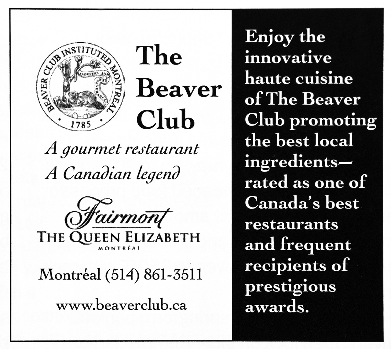 The Beaver Club Advertisement - Gourmet: February 2009