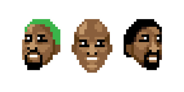 8-Bit Bulls: Power Trio | Purchase: T-Shirt | Wall Art & Coffee Mug