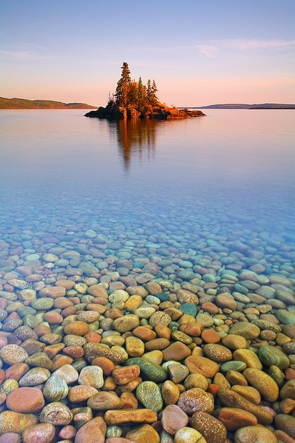 Lake superior, Canada, Sunset Island