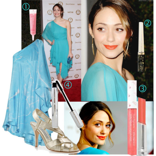 Emmy Rossum Makeup by angelicminx featuring short dresses Emmy Rossum looks stunning in a blue chiffon dress and gold sandals! Her makeup is perfect for spring.Here is an all-natural, organic makeup inspiration:1. Apply a drop 100% Pure gel blush lightly to the cheekbones.2.  Tight-line the top lashes with 100% pure Cream Liquid Eyeliner. *Tip*-  Life lashes lightly and draw the line in-between the lashes.3. Apply 100 % pure lip glaze for a tangerine color.4. Apply 100% pure mascara in black tea! Pull  back your hair into a bun or a chingon. and leave a light piece in  front- for wave, braid hair overnight before creating the hairdo. And you're done!Lots of love,-Angie