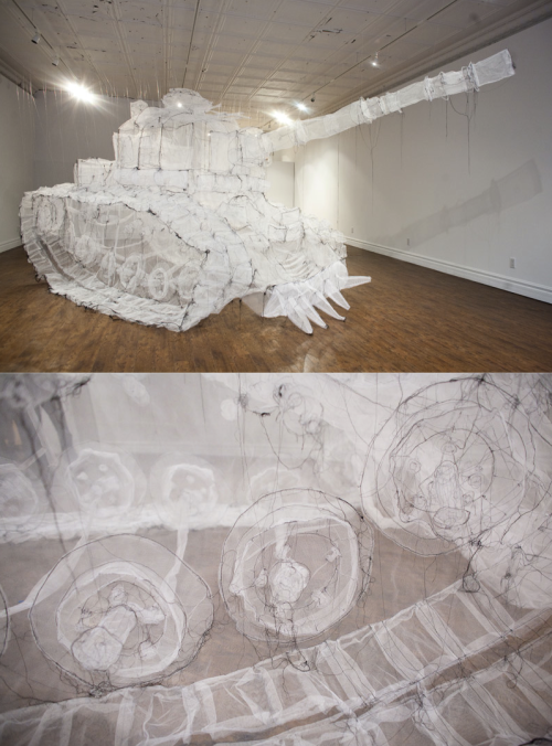 thread-drawn Tank by Jan­nick Deslau­ri­ers at Show & Tell Gallery in Toronto