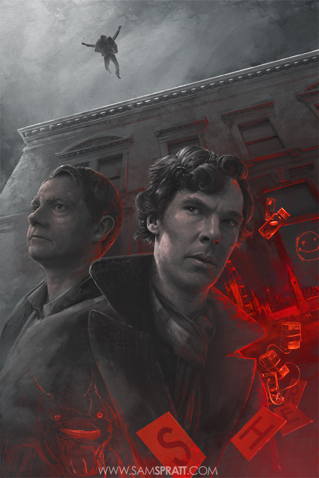 """Sherlock"" - Poster Illustration by Sam Spratt Archival art prints Available >HERE< If you haven't seen the amazing show yet, the first season's on netflix instant—if you have, I'm sure a lot of the details will be very familiar to you. Follow my: portfolio website,  tumblr,  facebook artist's page and twitter."