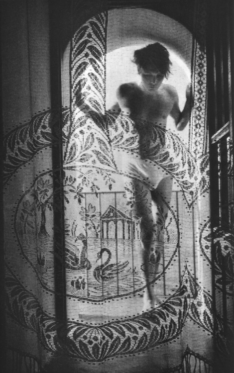 The boy behind the lace curtain by Herbert List (1936).