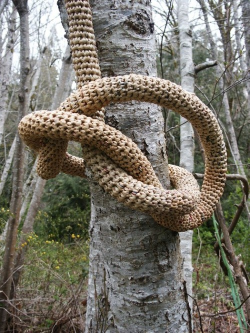 miss-mary-quite-contrary:  Barbara De Pirro,  Vine Plastica, 2009  Crocheted plastic bags