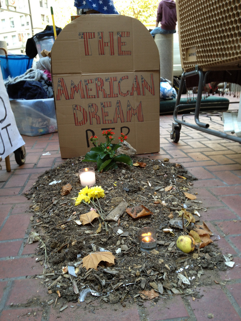 The American DreamFrom my #Occupy photo archives. Unfortunately it's also a good representation of the current state of  #OWS (though perhaps that will change soon?)