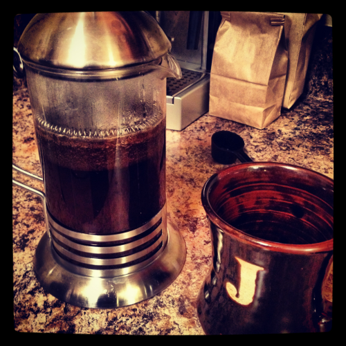 josethompson:  Brewing some Brazilian coffee on the French Press tonight. Nice shot Jose!