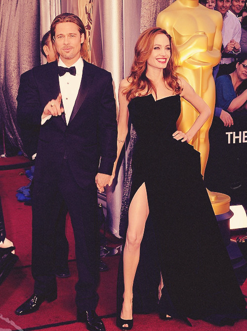 Brad Pitt and Angelina Jolie at the Academy Awards 2012
